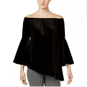 NWT NY Collection Black Velvet Longsleeves Top